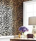 Thibaut Tiger Flock Wallpaper in Camel and Black